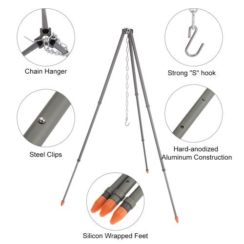 Alocs telescópica que acampa de la hoguera del trípode triángulo Barbacoa soporte del soporte portátil Grill Percha