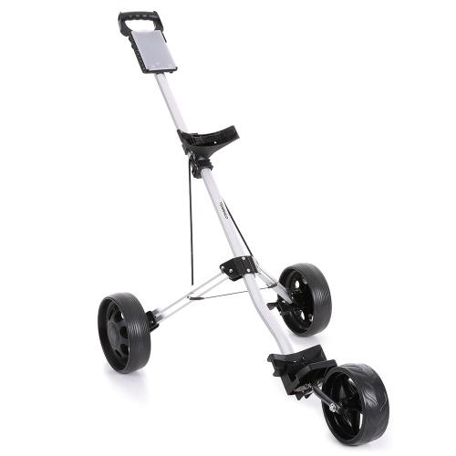 TOMSHOO Golf Cart Foldable 3 Wheels Push Cart Aluminum Pull Cart Trolley with Footbrake System
