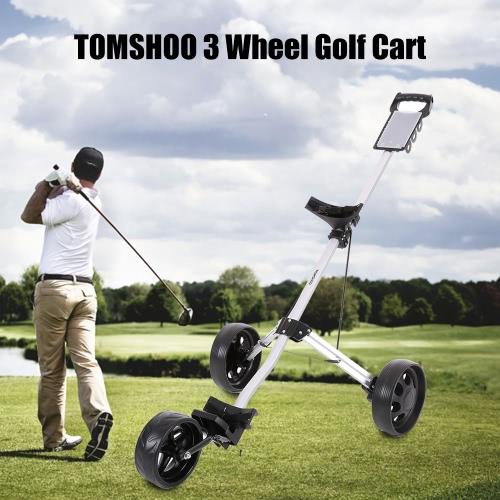 TOMSHOO Golf Cart pieghevole 3 Ruote Push Cart alluminio Pull carrello con Frenatura a pedale Sistema