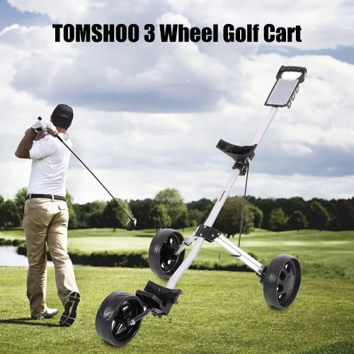 TOMSHOO Golf Cart faltbare 3 Räder Push Cart Aluminium Pull Wagen Trolley mit Fußbremse-System