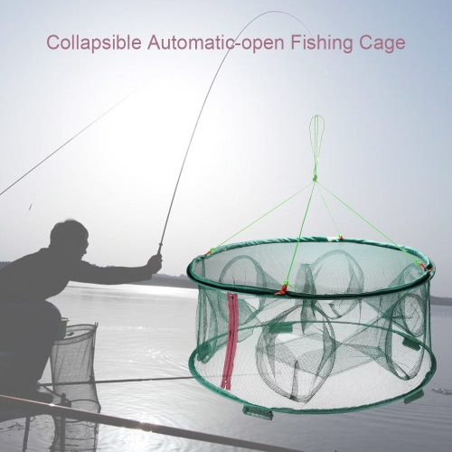 Portable Automatic-open Fishing Cage 6 Holes Collapsible Fishing Net Folding Shrimp Cage Fishing Tackle
