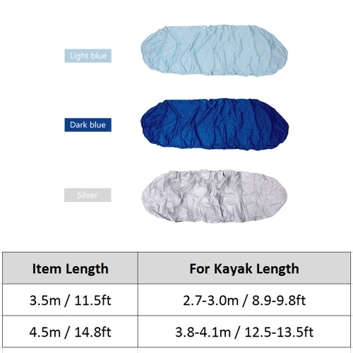 Docooler Professional Waterproof Kayak Storage Dust Cover Shield fit 3.8m-4.1m Llight Blue