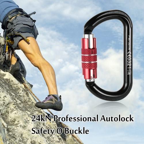 24kN Berufssicherheits O Schnalle Autolock Selbsthemmend Aluminium-Legierung Karabiner für Outdoor-Survival-Bergsteigen Klettern Caving Abseilen Rettungstechnik