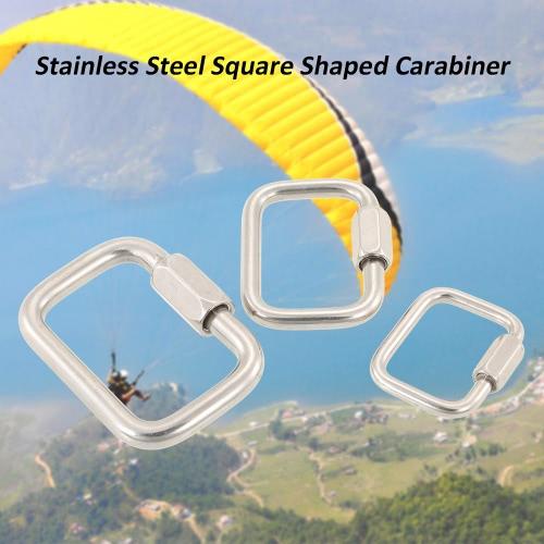 Edelstahl-Quadrat-Quick Link Karabiner Haken Hängen Schnalle für Paraglider Delta-Flügel im Freien Camping Wandern