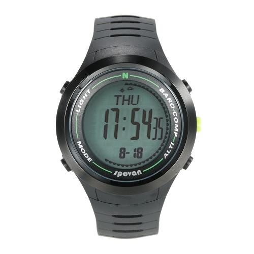 SPOVAN 5ATM Многофункциональный спортивные часы альтиметр барометр термометр Цифровой компас погоды шагомер