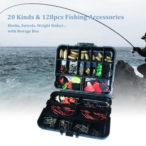 20 tipos de pesca 128pcs Accesorios anzuelos de pesca Gira Peso plomo de pesca con caja de almacenamiento