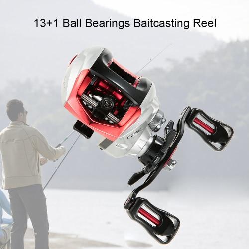 13 + 1BB cuscinetti a sfera pesca Baitcast bobina bobina di Baitcasting di 6.3: 1 Rapporto di Stella trascinamento