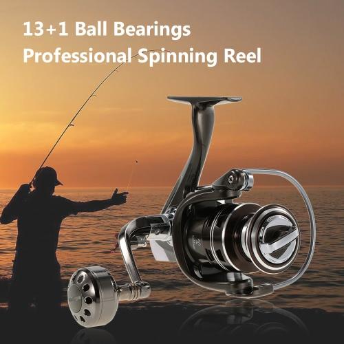 13 + 1BB Cojinetes de bolas Aleación de aluminio Carrete de pesca profesional Spinning Reel Pesca Tackle izquierda / derecha Convertible plegable manejar