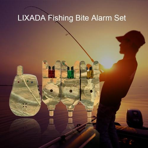Lixada Беспроводной светодиодный Рыбалка Аварийный сигнал предупреждения Набор с Случай 3 Рыбалка Bite; Сигнализация + 1 приемник