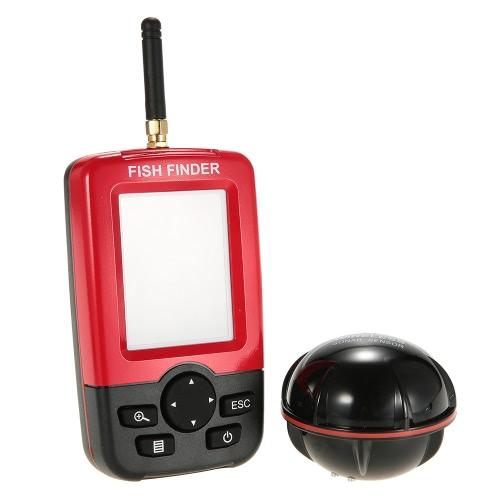 Docooler color LCD portátil inalámbrico buscador de los pescados del sensor del sonar transductor lupa de pesca pescado alarma de profundidad Equipo localizador de pesca con retroiluminación LED