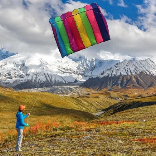 75 * 135cm multicolore Linea Parafoil Kite senza telaio Parachute morbido aquilone gigante cervo volante Lifter per bambini adulti
