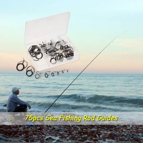 75pcs Sea Fishing Rod Guide Set Tip Repair Kit Fishing Rod Parts Stainless Steel Construction for Saltwater Freshwater Image
