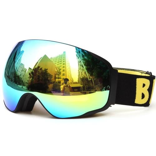 Protección UV adulto Esquí Snowboard Patinaje anti-vaho gafas ancha esférica lente PC antideslizante Correa compatible con casco