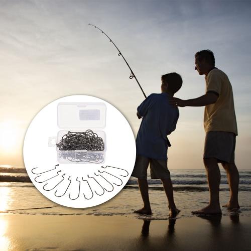 100pcs Offset-Wurm Haken High Carbon Stahl Barbed Angelhaken-Gerät Zubehör für Salzwasser