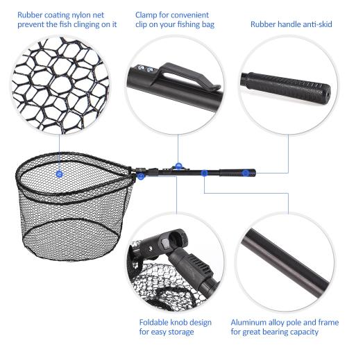 Fishing Landing Net Portable Foldable Lightweight Net Nylon Mesh Fishing Brail Net Aluminum Alloy Frame Fishing Catching Releasing Net Fly Fishing Equipment