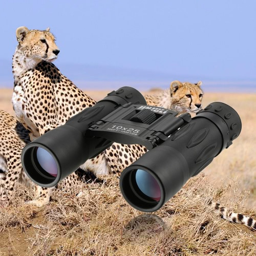 Mini compacto 10x25 Binocular alta potencia de Bird telescopio binocular HD observación de vida silvestre Canotaje Caza con la lente del paño de la bolsa que lleva la cuerda de seguridad