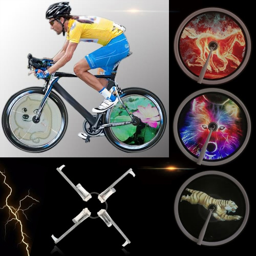 Высокое разрешение Яркость 2000cd / м2 Интеллектуальные Смарт велосипед спиц колеса свет монитора RGB Дисплей перезаряжаемый велосипедов ступица колеса 256 / 416pcs Полный цветных светодиодов свет