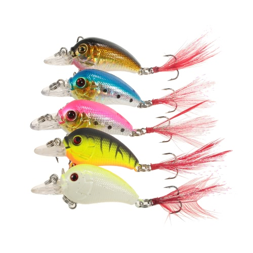 Lixada 5pcs cebos de pesca duro señuelos artificiales realista Crankbait del labio kit de la manivela Bass Fishing con Clear Box
