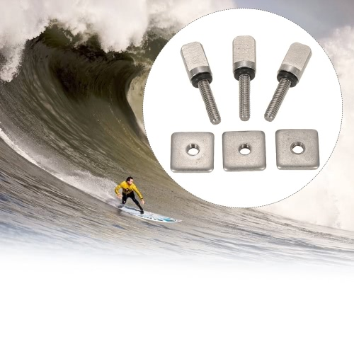 3 Surfboard Longboard Sliding Fin Screw & Fin Plate Replacement Kit for Stand Up Paddle Body Board