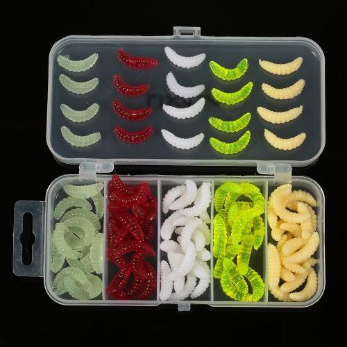 Lixada 100pcs señuelos de pesca establecidas 2cm Maggot gusanos Worms cebos señuelo suave Accesorios de pesca con la caja de aparejos