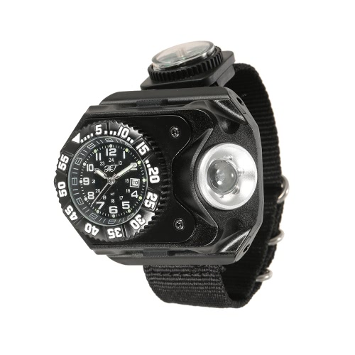 3-в-1 супер яркие светодиодные часы фонарик факел компас Открытый спорт перезаряжаемые наручные часы лампы
