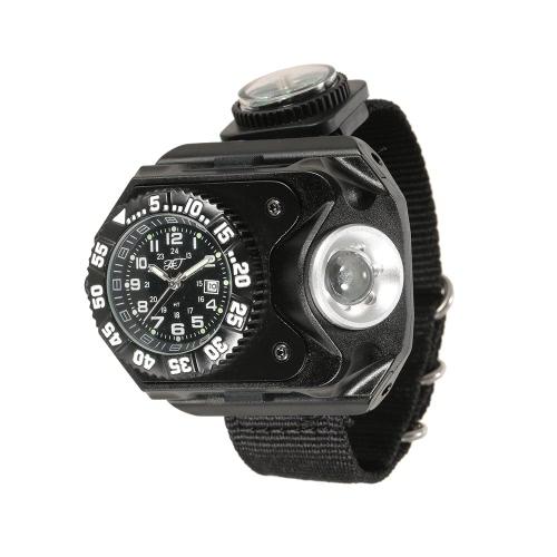 3-in-1 super helle LED-Uhr-Taschenlampen-Fackel-Kompaß-im Freiensport-nachladbare Armbanduhr-Lampe