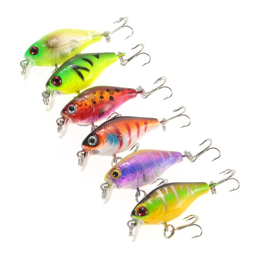 Lixada 6PCS Diving Crankbait Fishing Lures 4.4g 43mm 0.3-0.6m Artificial Bait Hard Fishing Lure Set Bait with #10 Hooks