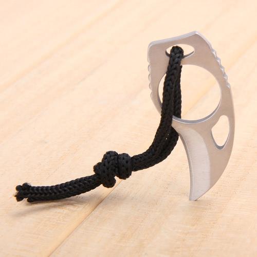 Открытый кемпинг Carabiner Survival Finger Claw Knife Hook Fixed Ring Card EDC Инструмент Мини-карманный нож с кожаной оболочкой