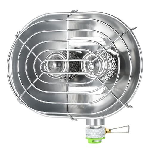 Calentador de doble cabeza al aire libre infrarrojos portátiles Ray Camping calefacción estufa calentador calefacción cocina de gas