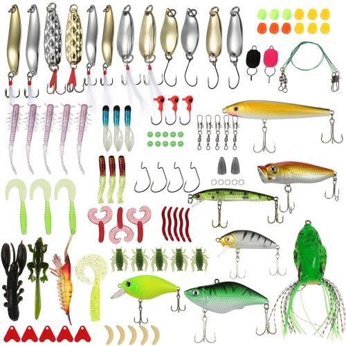 Lixada 106pcs Fishing Lures Tackle Mixed Hard Baits Soft Baits Popper Crankbait VIB Topwater Floating Fishing Lures Ganchos Pesca Acessórios Kit Set com caixa de armazenamento