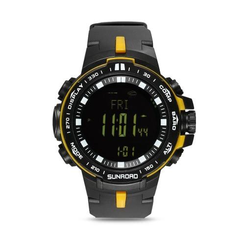 SUNROAD Outdoor Digital Sport Uhr Herren 5ATM Wasserdicht Höhenmesser Kompass Angeln Barometer Uhr