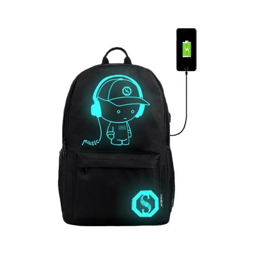 Zaino ricarica USB di moda con anime luminose
