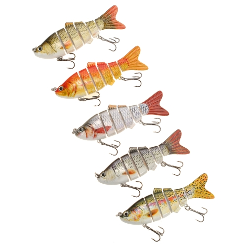 Lixada 5PCS 10cm / 20g Lifelike 6 соединенных секций Swimbait Fishing Lure Hard Bait Fish Hook Fishing Sackle