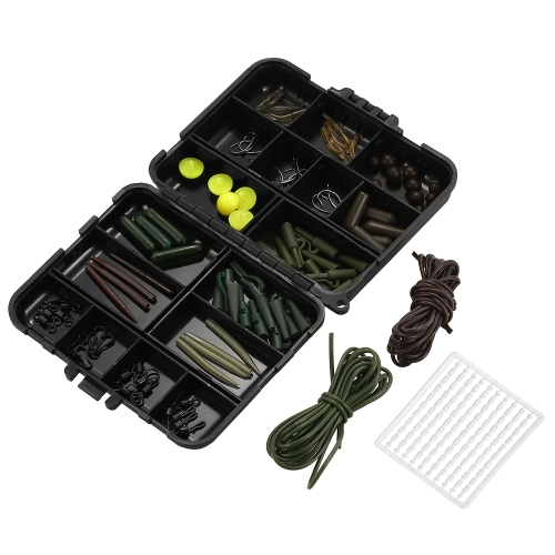 101PCS Carp Fishing Tackle Box Clips Hooks Swivels Baiting Fishing Beads Gomme Tubes Terminal Rigs