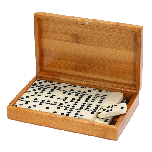 Double Six Dominoes Set Entertainment Gioco da viaggio ricreativo Toy Black Dots Dominoes
