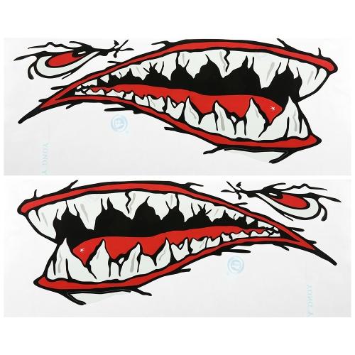 2 piezas a prueba de agua tiburón dientes boca pegatinas Kayak Boat Car Truck accesorios