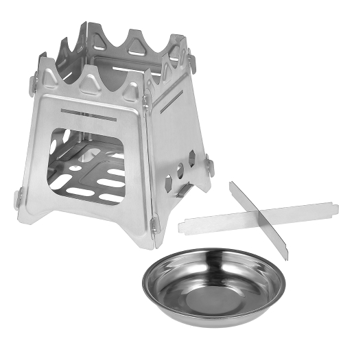 Outdoor Camping Stove Portable Folding Backpacking Wood Stove with Alcohol Tray for Camping Fishing Hiking