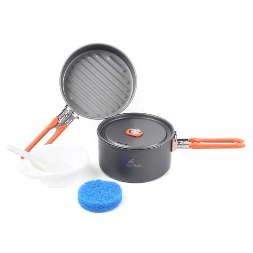 Outdoor Camping 6 Stücke Kochgeschirr Kit Wandern Pinic Kochen Pfanne Pan Pot Set