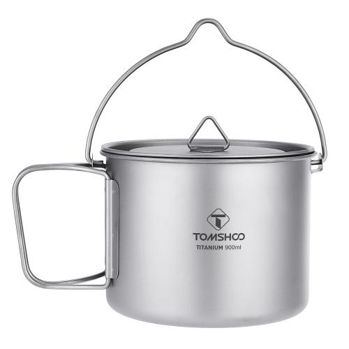 TOMSHOO 900ML Titanium Pot Portable Titanium Water Mug Cup