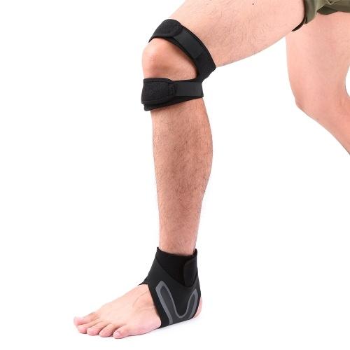 1 par de soportes para rodilla y tobillo fijados correas ajustables transpirables de doble correa de neopreno tobillera correas de soporte