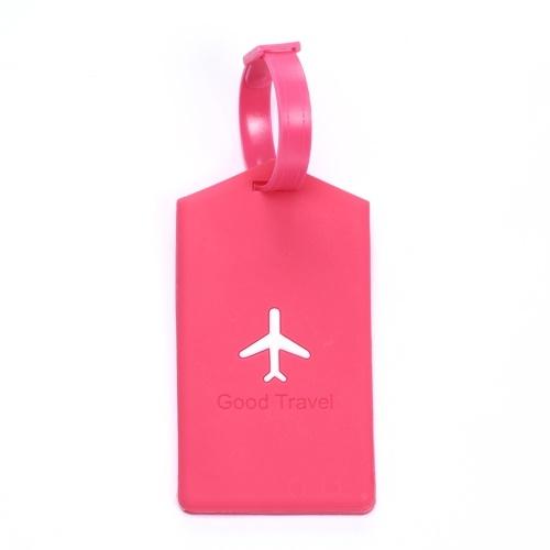 Retângulo Na Moda Criativo Silicone Bagagem de Viagem Tags Bagagem Mala Saco Etiquetas Nome Endereço Tel Rosa Vermelha