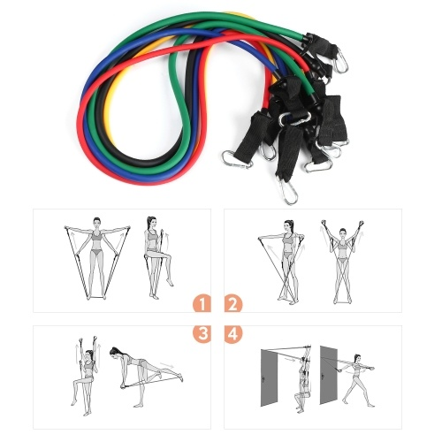Lixada 11Pcs Resistance Bands Set Workout Fintess Exercise Tube Bands Door Anchor Ankle Straps Cushioned Handles with Carry Bags for Home Gym Travel