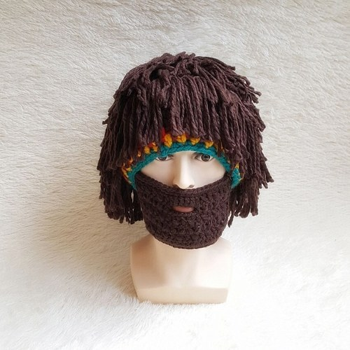 591933c0999 Wig Beard Hats Hobo Mad Scientist Caveman Handmade Knit Warm Winter Caps