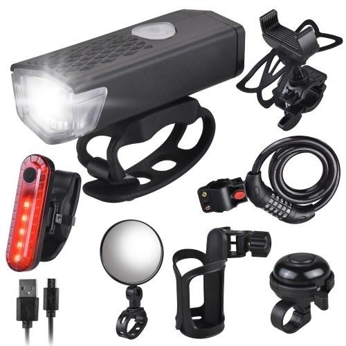 Rotazione a 360 ° Supporto per cellulare per bicicletta USB Set luci per bici ricaricabili Antifurto per bici Portabottiglie per bicicletta Campanello per bicicletta Specchio per bicicletta