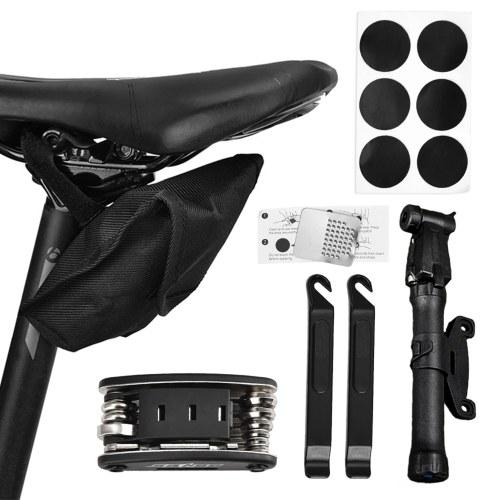 Tragbares Mountainbike-Reparaturwerkzeug-Kit Fahrradreparatur für Mehrzweck-Notfallreifen-Reparaturset 16-in-1-Fahrradreparatur Multifunktionales Werkzeugset Mini-Fahrradpumpe Fahrradwartungswerkzeug mit Tasche