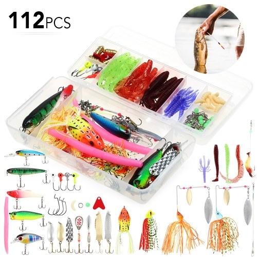 Conjunto de señuelo de cebo de pesca de 112 piezas Kit de cebo de cebo de pesca