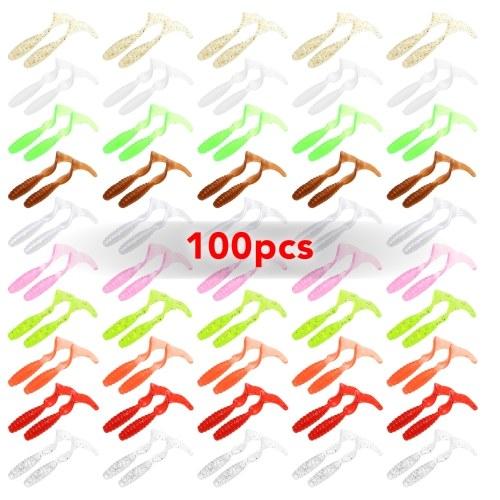 100шт 4см / 5.5см / 7см Мягкие искусственные рыболовные приманки Swimbait Tail Grub Приманки Червь Moggot Grub Приманки Приманки фото
