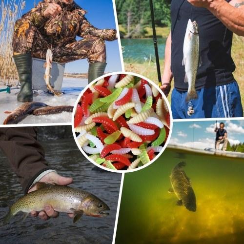 80pcs 2cm Fishing Lure Soft Plastic Artficial Maggot Grub Worm Soft Bait Lures Image