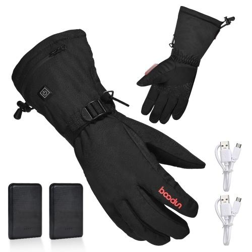 Luvas aquecidas elétricas com bateria recarregável Luvas térmicas Luvas de inverno mais quentes com 3 níveis de controle de temperatura para escalar esqui Caminhadas