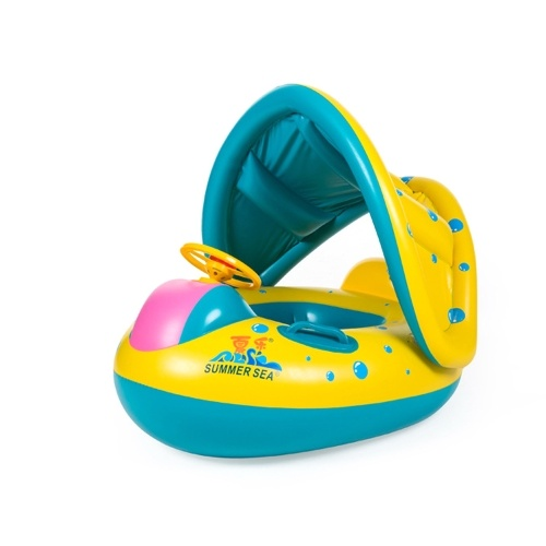 Portable Inflatable Circle Baby Float Seat Kids Swimming Circle with Sunshade Seat Pool Accessories